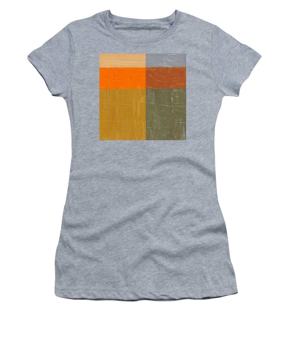 Paint Women's T-Shirt (Athletic Fit) featuring the painting Orange And Grey by Michelle Calkins