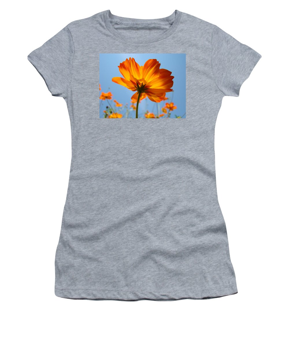 Daisy Women's T-Shirt (Athletic Fit) featuring the photograph Orange Floral Summer Flower Art Print Daisy Type Blue Sky Baslee Troutman by Baslee Troutman