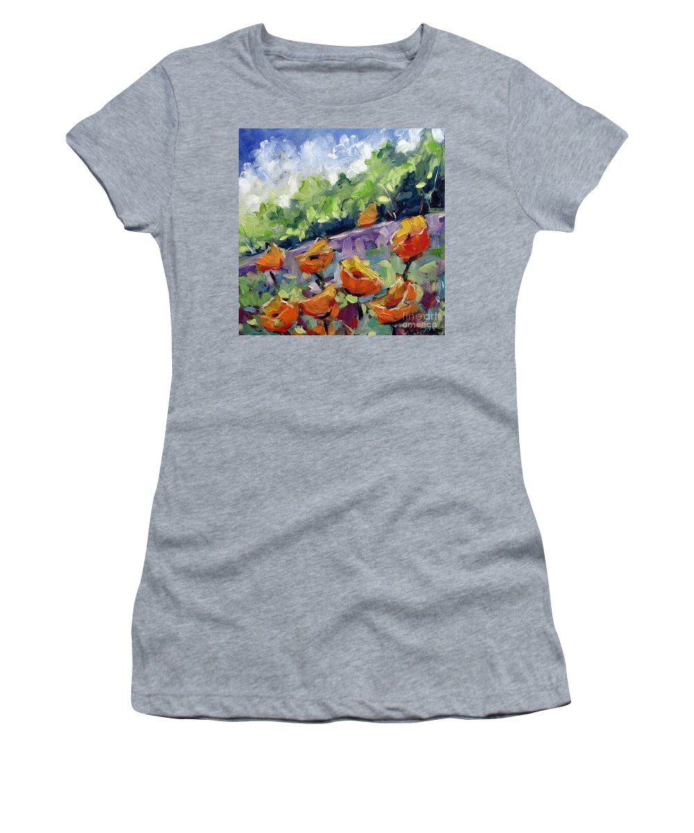 Art Women's T-Shirt (Athletic Fit) featuring the painting Orange Poppies by Richard T Pranke