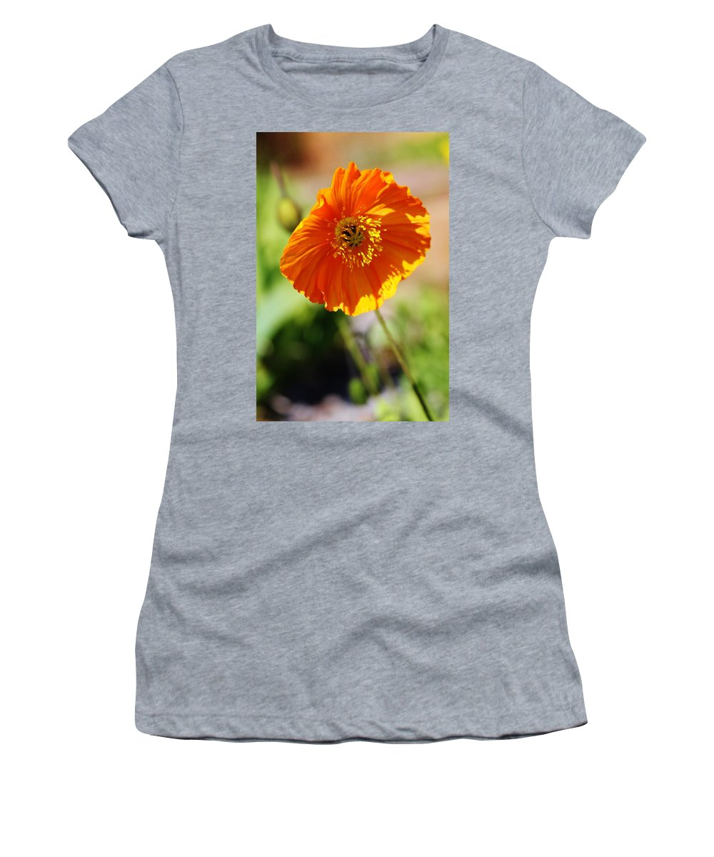Spring Time Women's T-Shirt featuring the photograph Orange Poppy by Lori Mahaffey