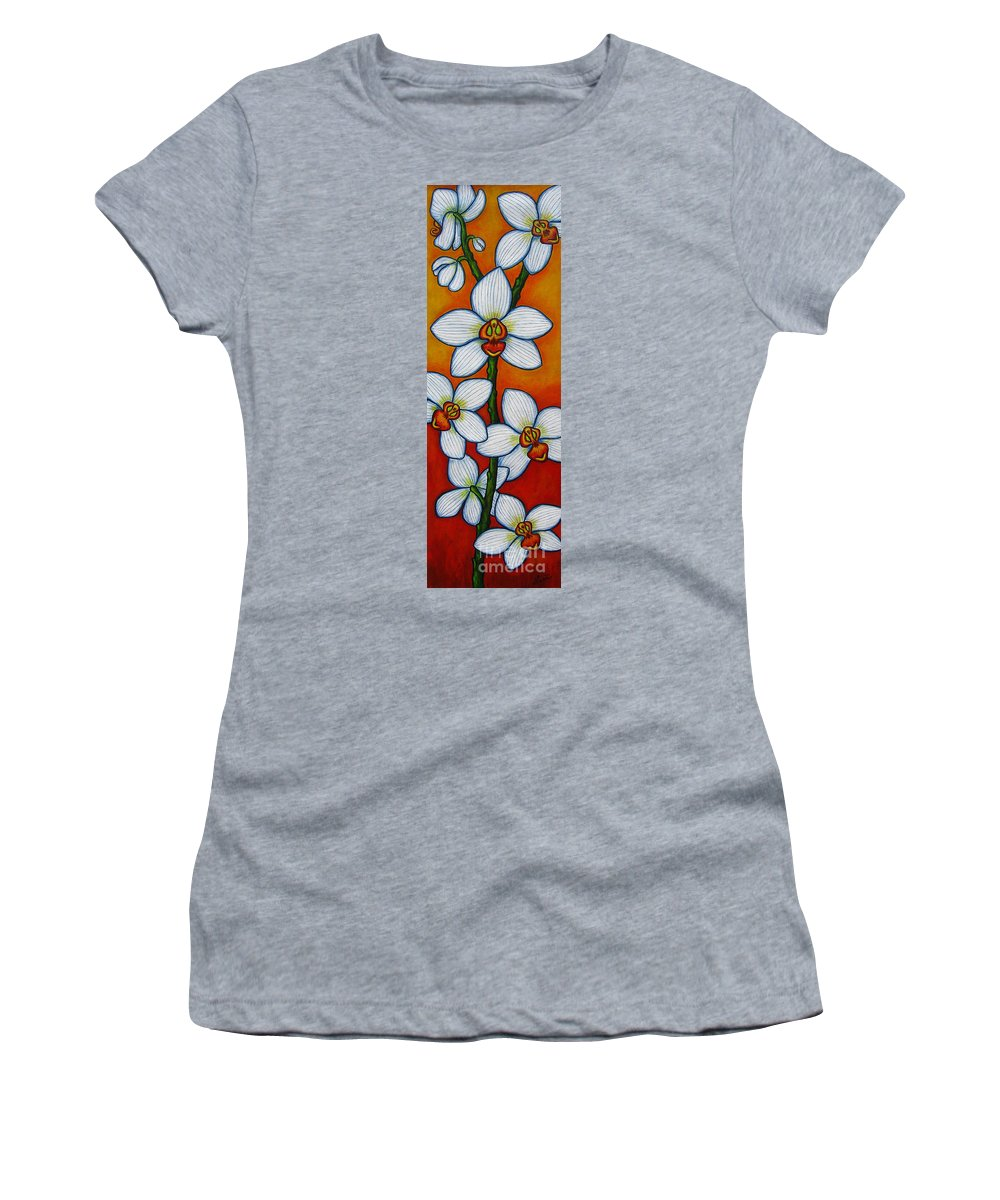 Orchids Women's T-Shirt featuring the painting Orchid Oasis by Lisa Lorenz