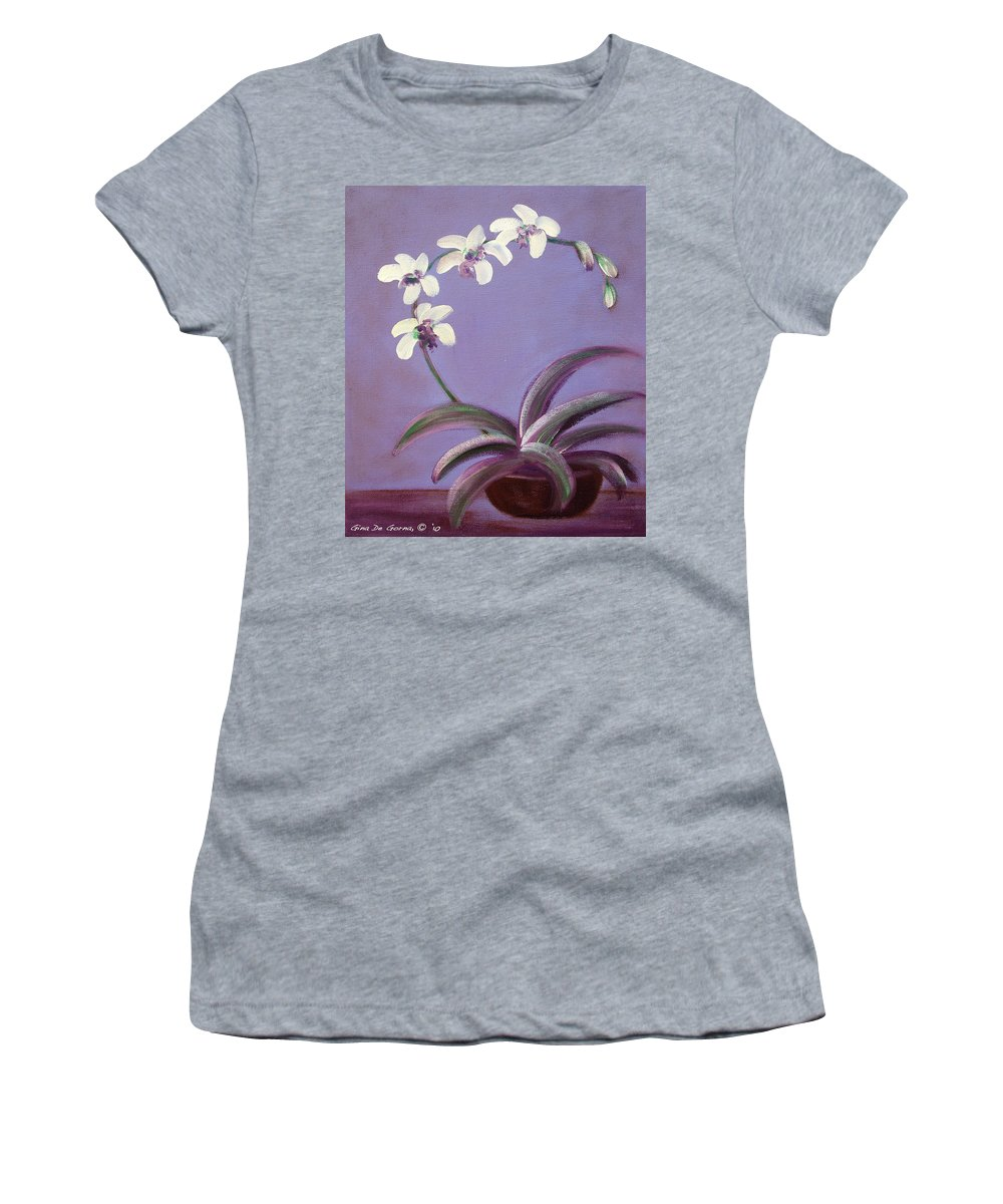 Original Women's T-Shirt (Athletic Fit) featuring the painting Orchids by Gina De Gorna