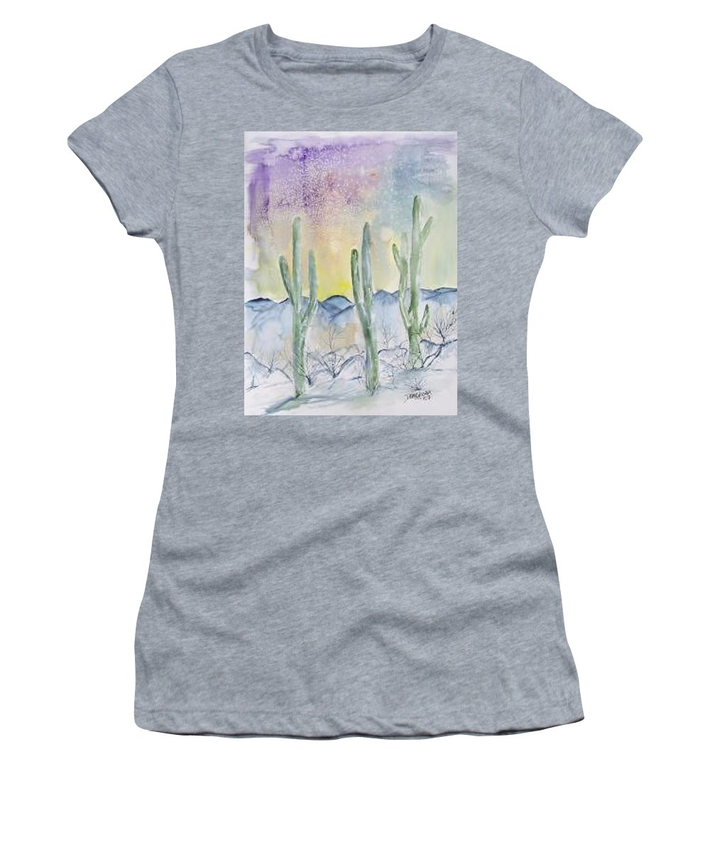 Impressionistic Women's T-Shirt featuring the painting Organ Pipe Cactus desert southwestern painting poster print by Derek Mccrea