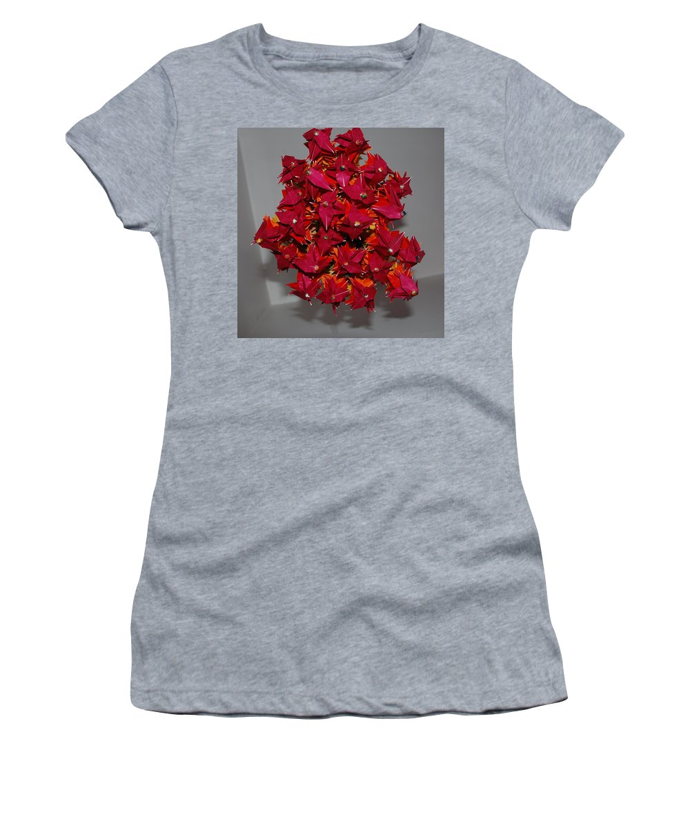 Origami Women's T-Shirt (Athletic Fit) featuring the photograph Origami Flowers by Rob Hans