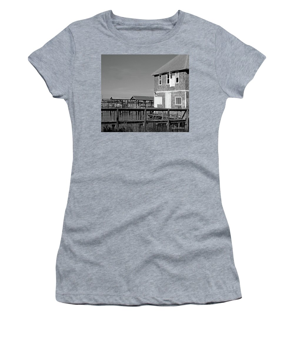 Historic Women's T-Shirt (Athletic Fit) featuring the photograph Ormond Yacht Club Black And White by DigiArt Diaries by Vicky B Fuller