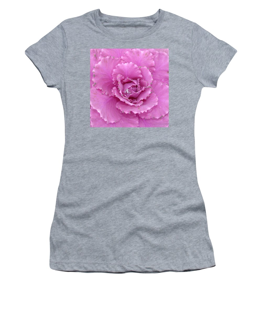 Ornamental Cabbage Women's T-Shirt (Athletic Fit) featuring the photograph Ornamental Cabbage With Raindrops - Square by Carol Groenen