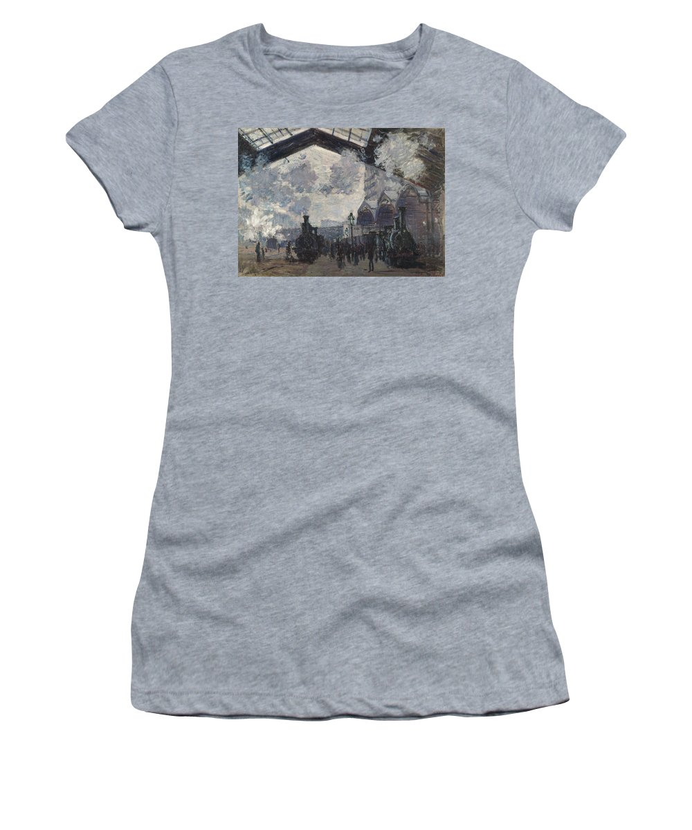 Claude Women's T-Shirt (Athletic Fit) featuring the digital art Oscar Monet  The Gare St Lazare by PixBreak Art