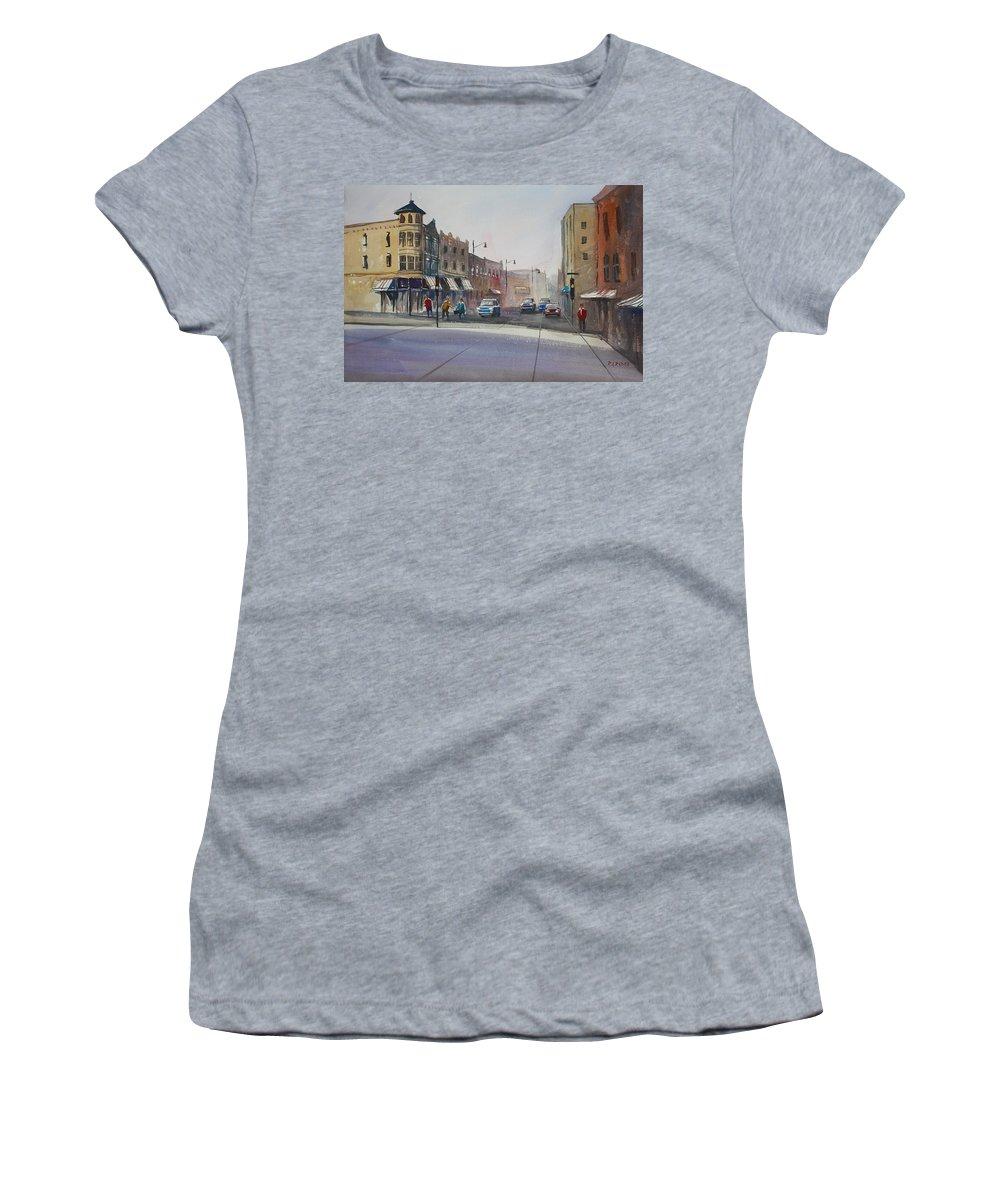 Street Scene Women's T-Shirt featuring the painting Oshkosh - Main Street by Ryan Radke