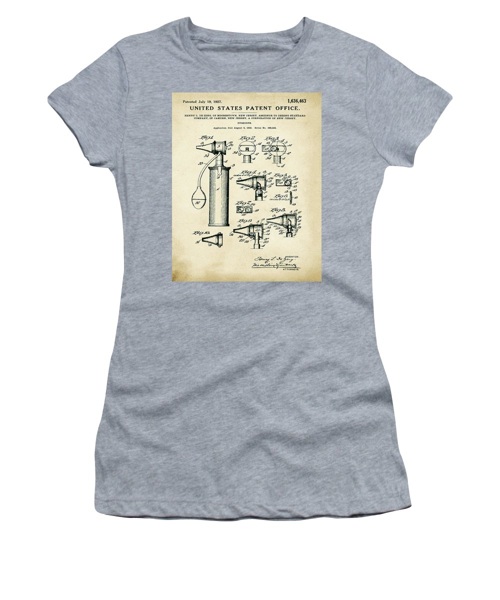 Otoscope Women's T-Shirt featuring the digital art Otoscope Patent 1927 Old Style by Bill Cannon