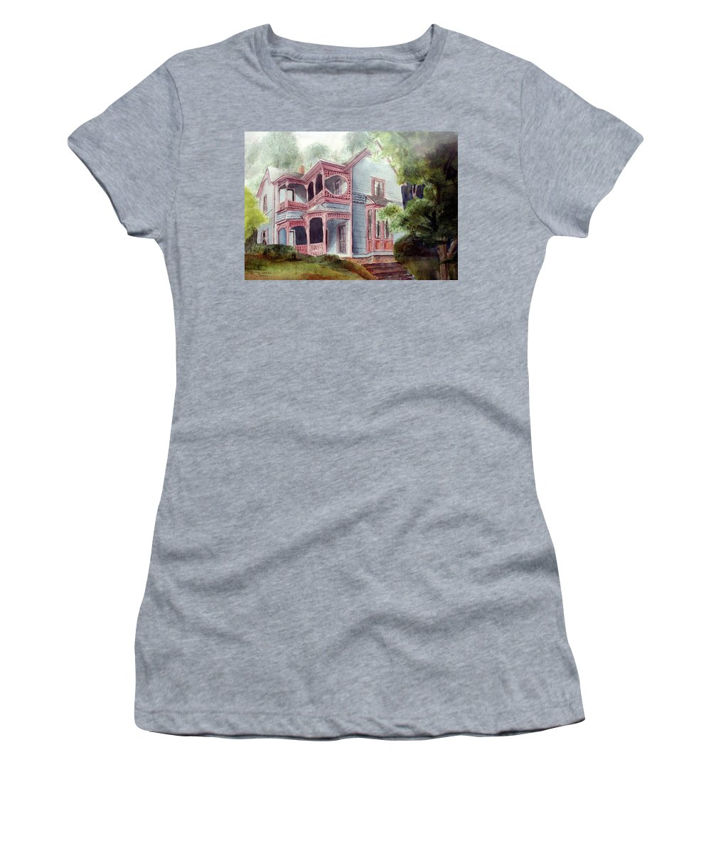 Watercolor Women's T-Shirt (Athletic Fit) featuring the painting Ozark Cottage by Barry Jones