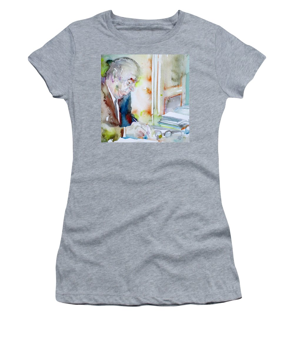 Pablo Neruda Women's T-Shirt (Athletic Fit) featuring the painting Pablo Neruda - Watercolor Portrait.8 by Fabrizio Cassetta