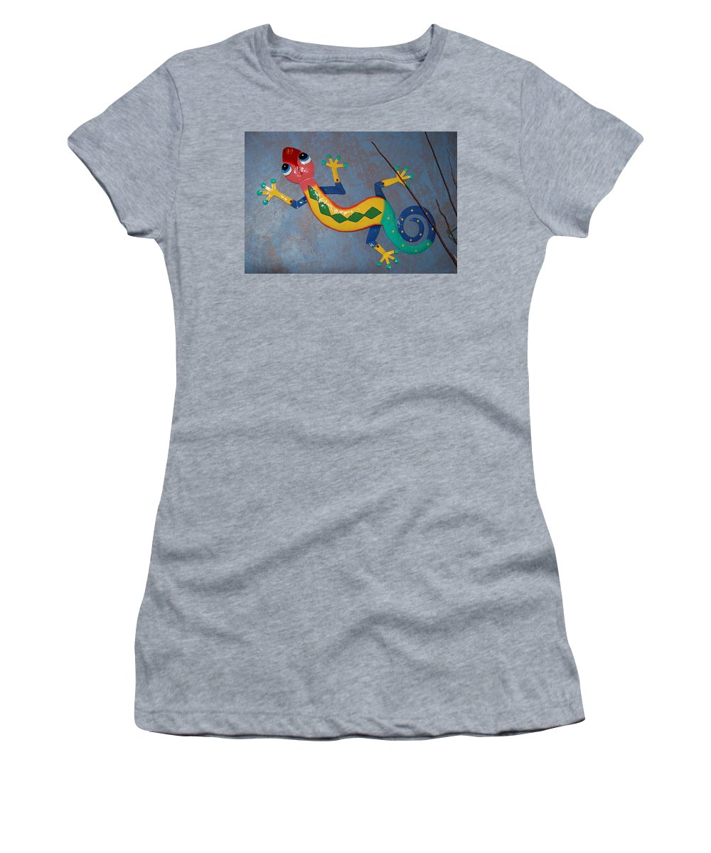 Pop Art Women's T-Shirt (Athletic Fit) featuring the photograph Painted Lizard by Rob Hans