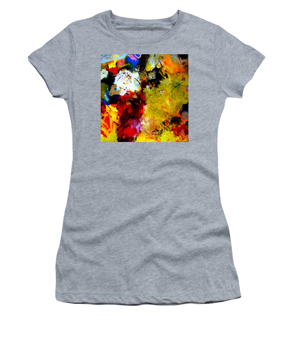 Rustic Women's T-Shirt (Athletic Fit) featuring the painting Palette Abstract Square by Michelle Calkins