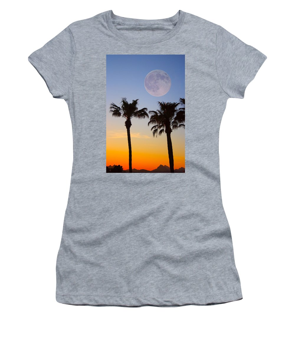 Palm Women's T-Shirt featuring the photograph Palm Tree Full Moon Sunset by James BO Insogna