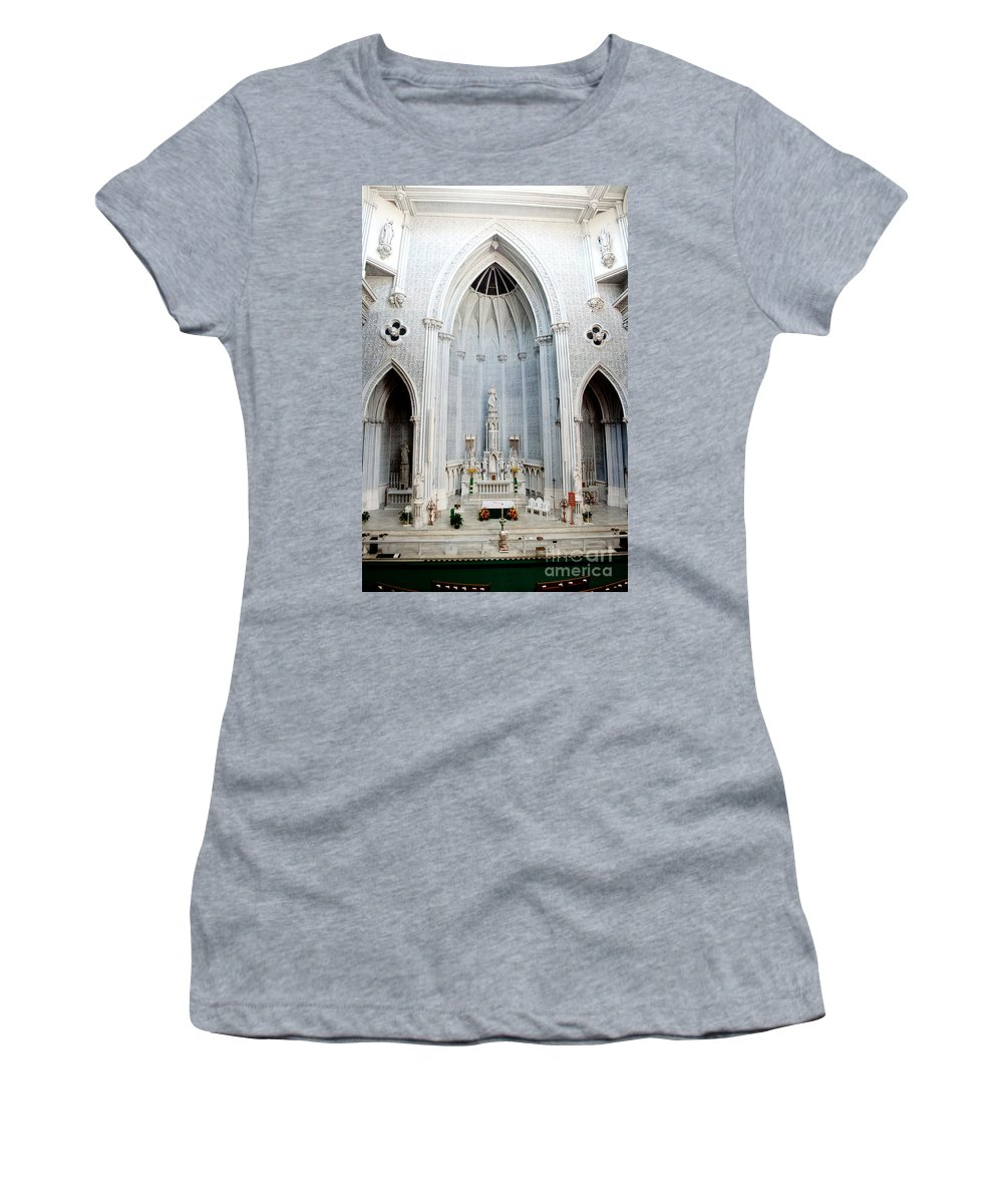 St.john Women's T-Shirt featuring the photograph Panorama Of The Main Altar Of St. John The Evangalist Roman Catholic Church Schenectady by Thomas Marchessault