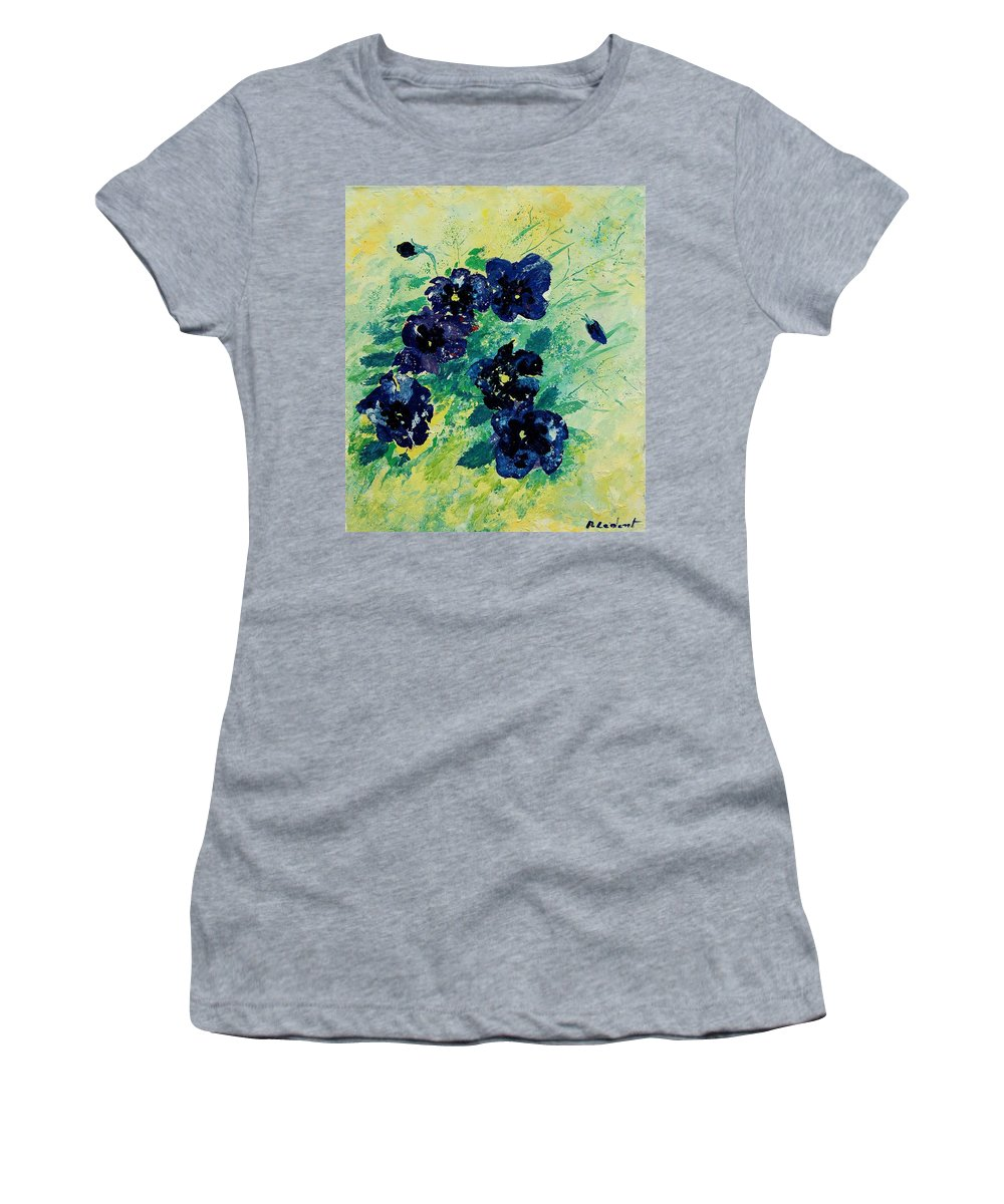 Flowers Women's T-Shirt (Athletic Fit) featuring the painting Pansies by Pol Ledent
