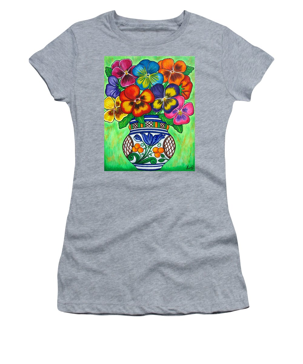 Flower Women's T-Shirt (Athletic Fit) featuring the painting Pansy Parade by Lisa Lorenz