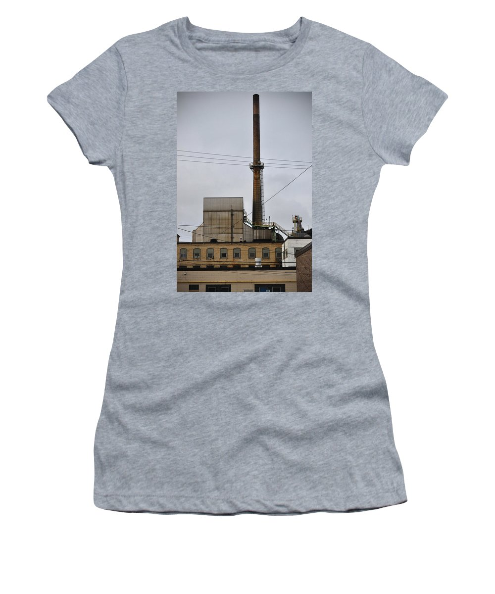 Paper Mill Women's T-Shirt (Athletic Fit) featuring the photograph Paper Mill 2 by Tim Nyberg