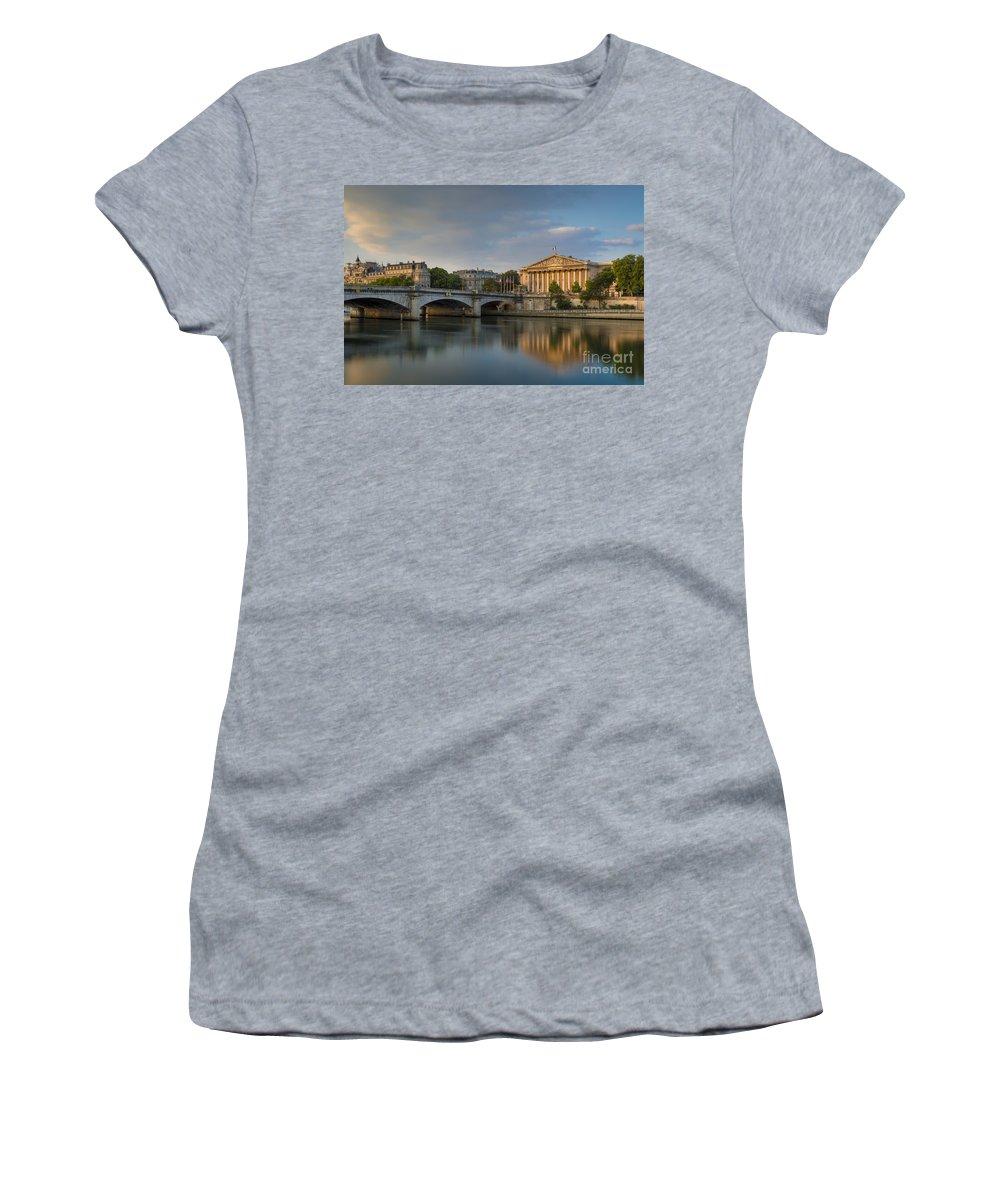 Assemblee Nationale Women's T-Shirt featuring the photograph Paris Dawn by Brian Jannsen
