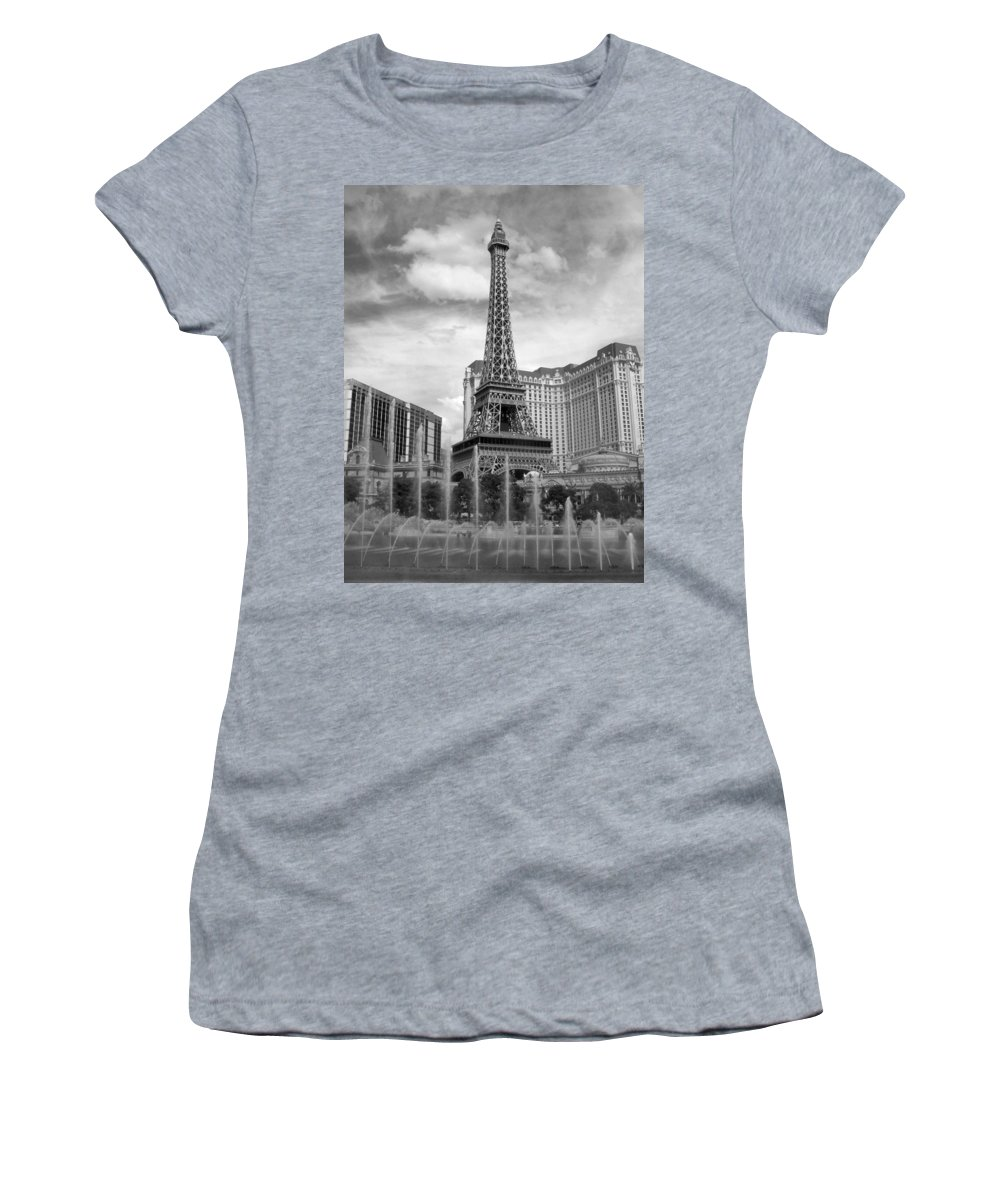 Paris Hotel Women's T-Shirt (Athletic Fit) featuring the photograph Paris Hotel - Las Vegas B-w by Anita Burgermeister