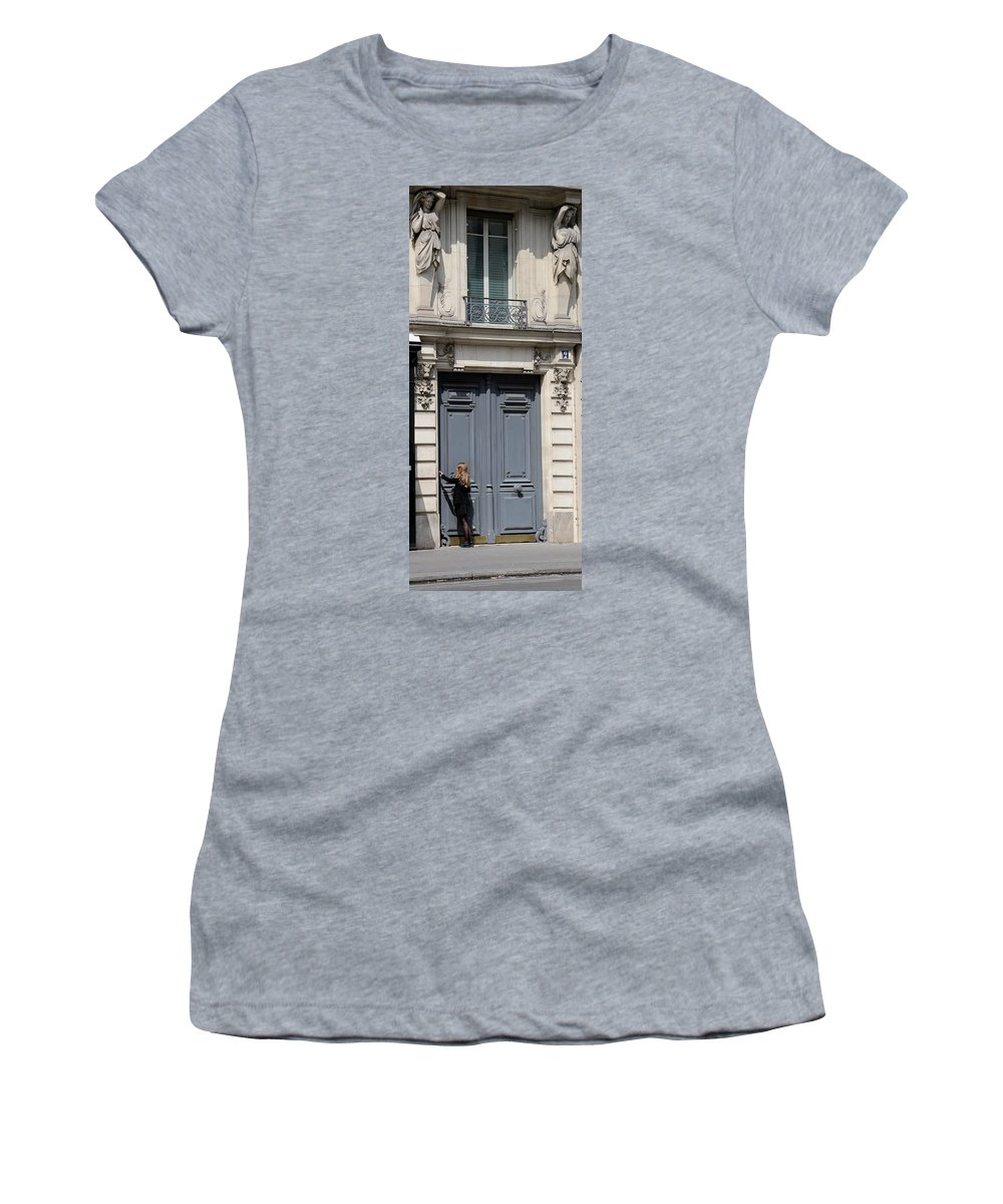 Streets Of Paris Women's T-Shirt featuring the photograph Paris Street Life 3 by Andrew Fare