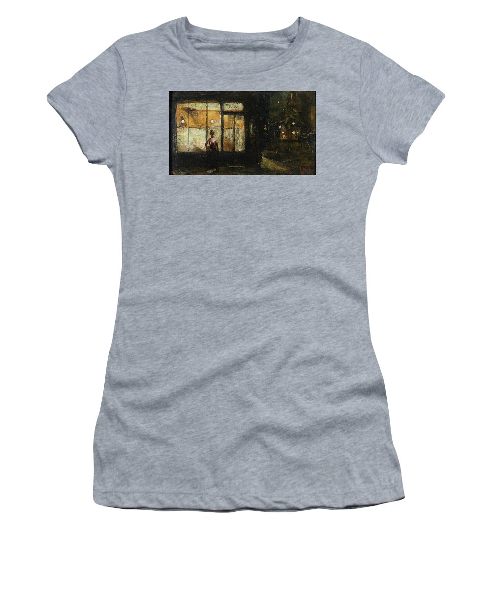 Lesser Ury 1861-1931 Parisian Boulevard At Night Women's T-Shirt (Athletic Fit) featuring the painting Parisian Boulevard At Night by Lesser Ury