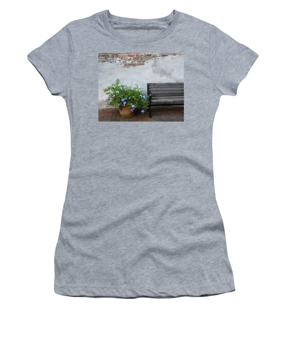 Bench Women's T-Shirt (Athletic Fit) featuring the photograph Park It by Lauri Novak