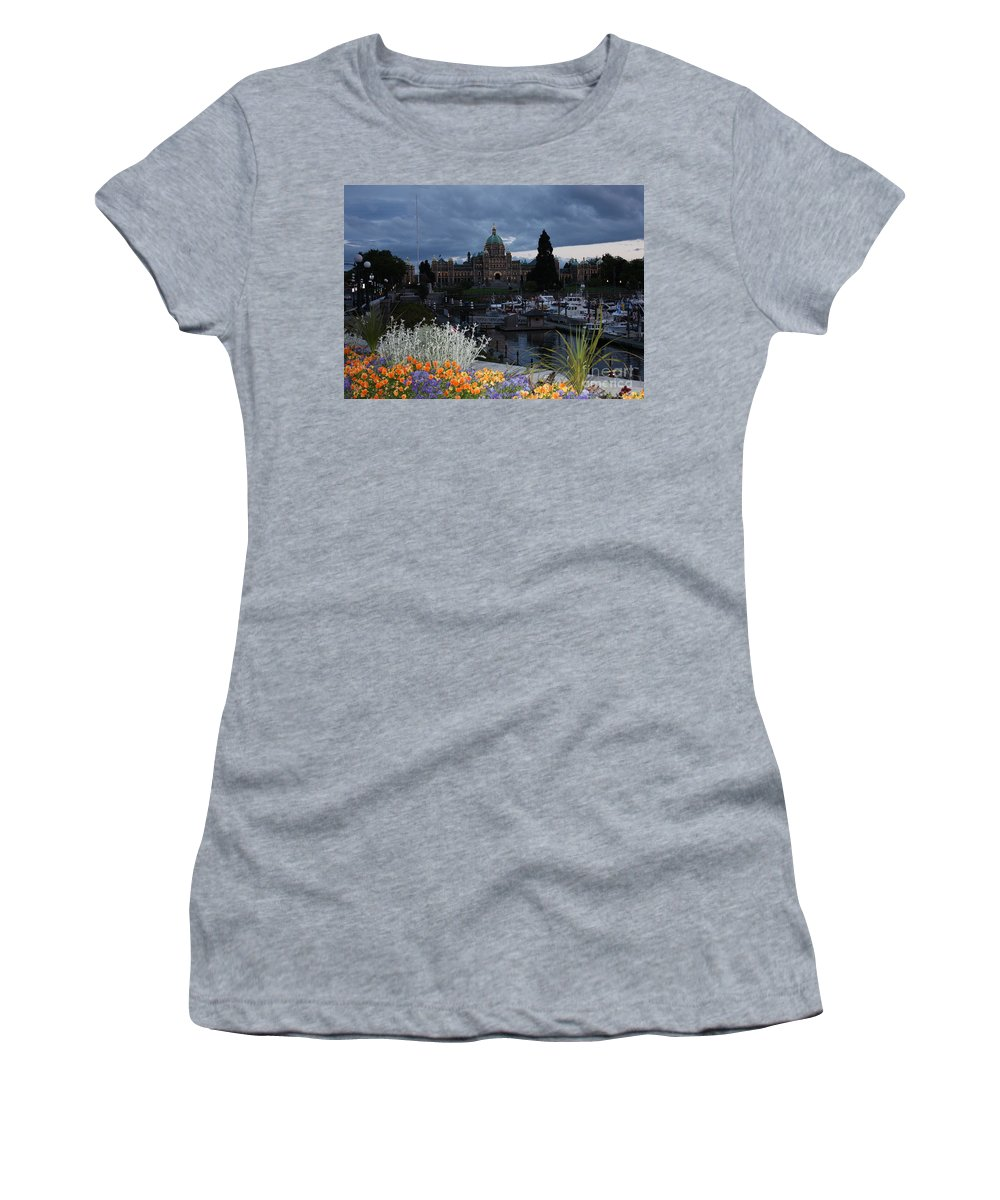 Canada Cityscape Women's T-Shirt (Athletic Fit) featuring the photograph Parliament Building In Victoria At Dusk by Carol Groenen