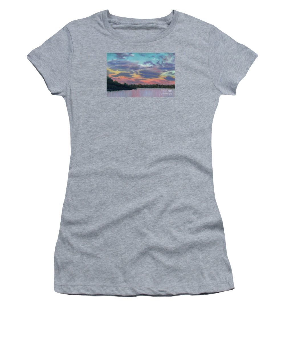 Landscape Women's T-Shirt (Athletic Fit) featuring the painting Pastel Sunset by Lynn Quinn