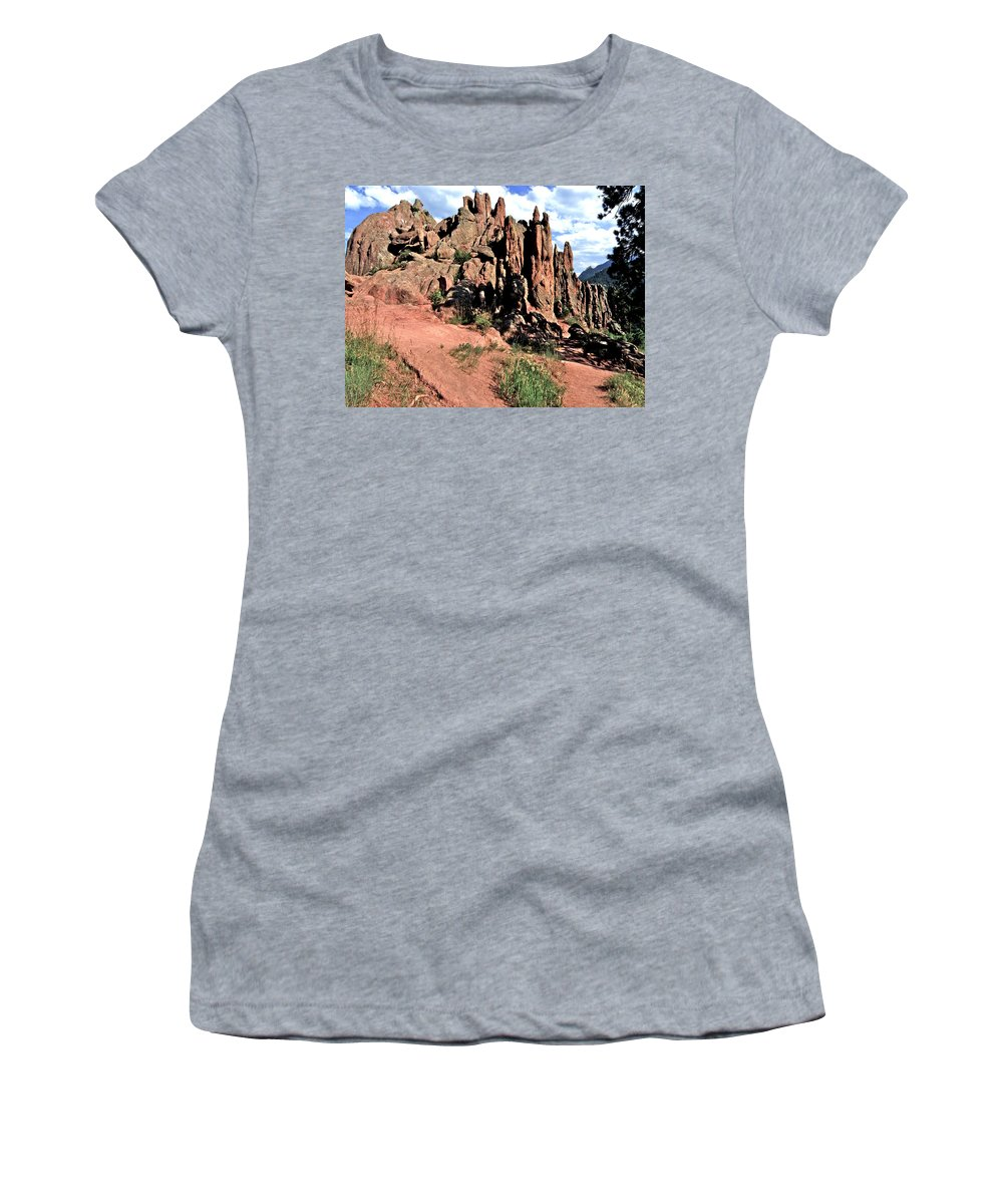 Path Red Rocks Settlers Park Boulder Colorado Rockformations Rocky Mountains Nature Women's T-Shirt (Athletic Fit) featuring the photograph Path To Red Rocks by George Tuffy