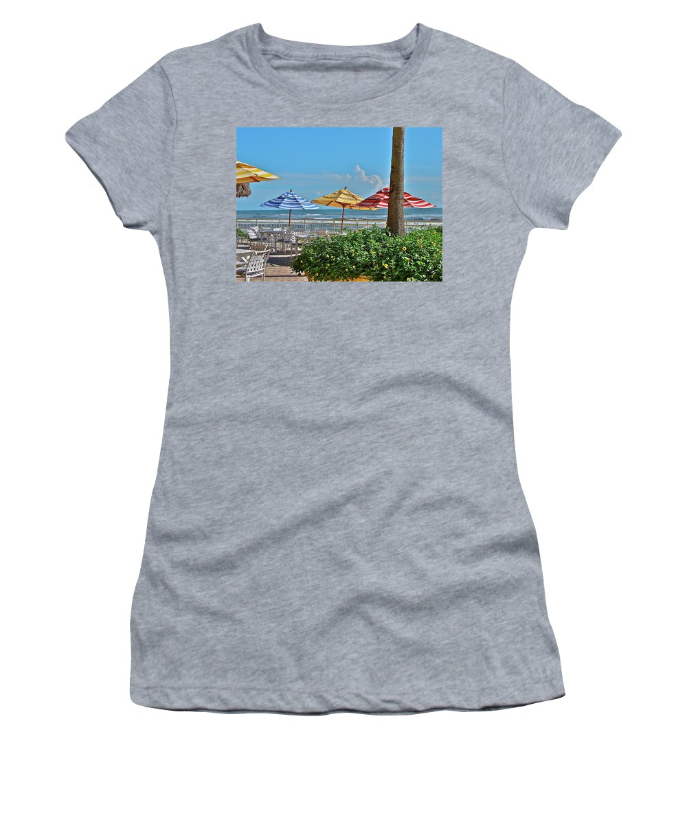 Sea Women's T-Shirt (Athletic Fit) featuring the photograph Patio Dining by Diana Hatcher