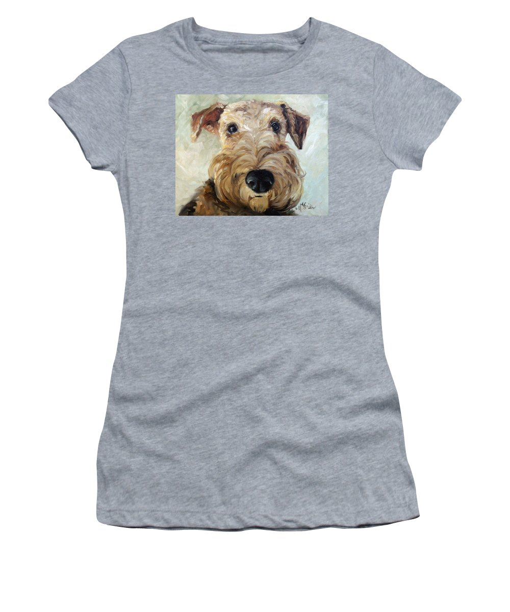Art Women's T-Shirt (Athletic Fit) featuring the painting Paying Close Attention by Mary Sparrow