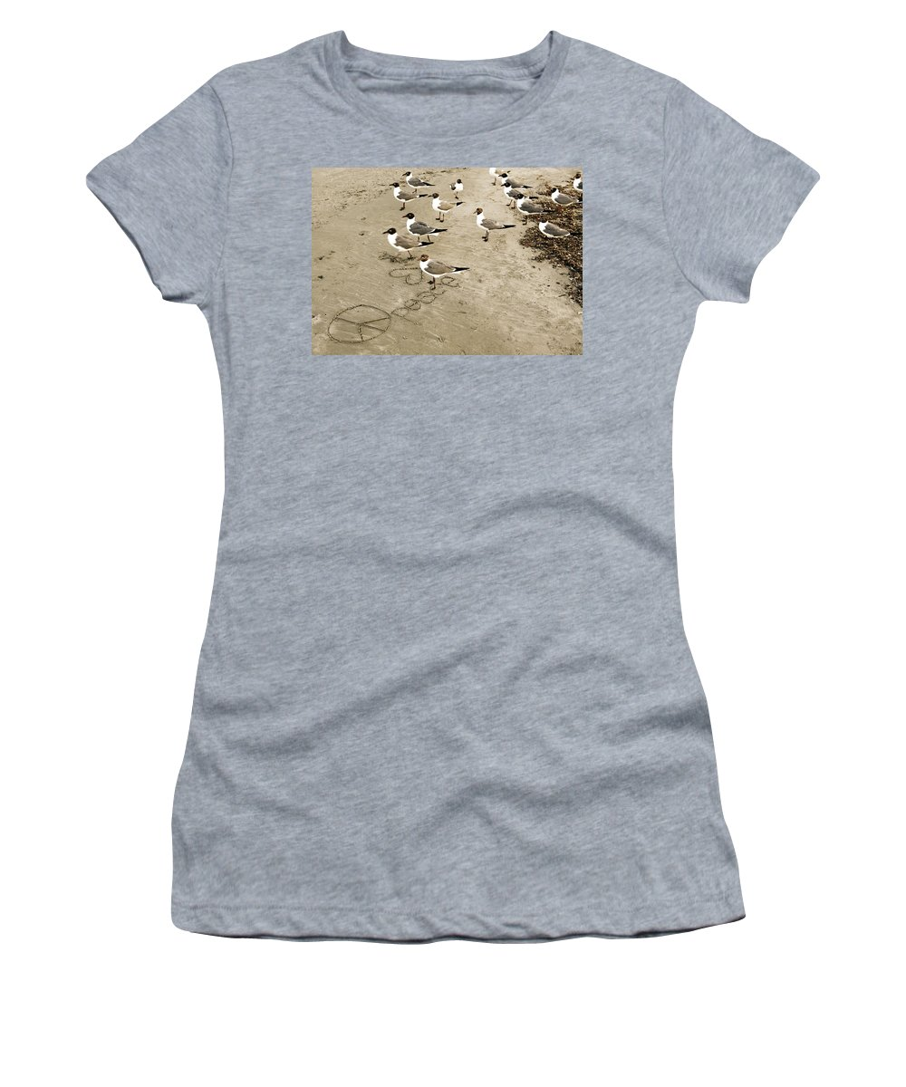 Americana Women's T-Shirt (Athletic Fit) featuring the photograph Peace On The Beach by Marilyn Hunt