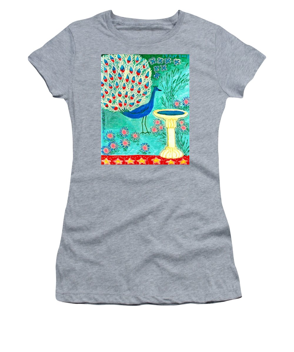 Sue Burgess Women's T-Shirt (Athletic Fit) featuring the painting Peacock And Birdbath by Sushila Burgess