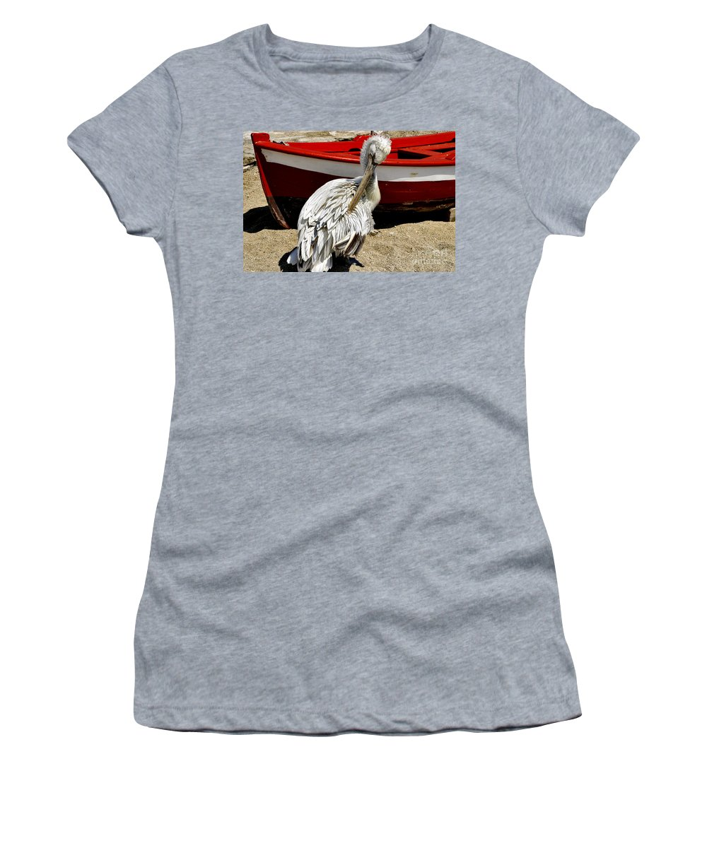 Pelican Women's T-Shirt (Athletic Fit) featuring the photograph Pelican In Mykonos II by Madeline Ellis