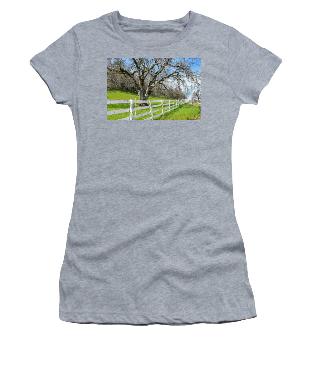Fence Women's T-Shirt (Athletic Fit) featuring the photograph Penn Valley Tree by Robin Mayoff