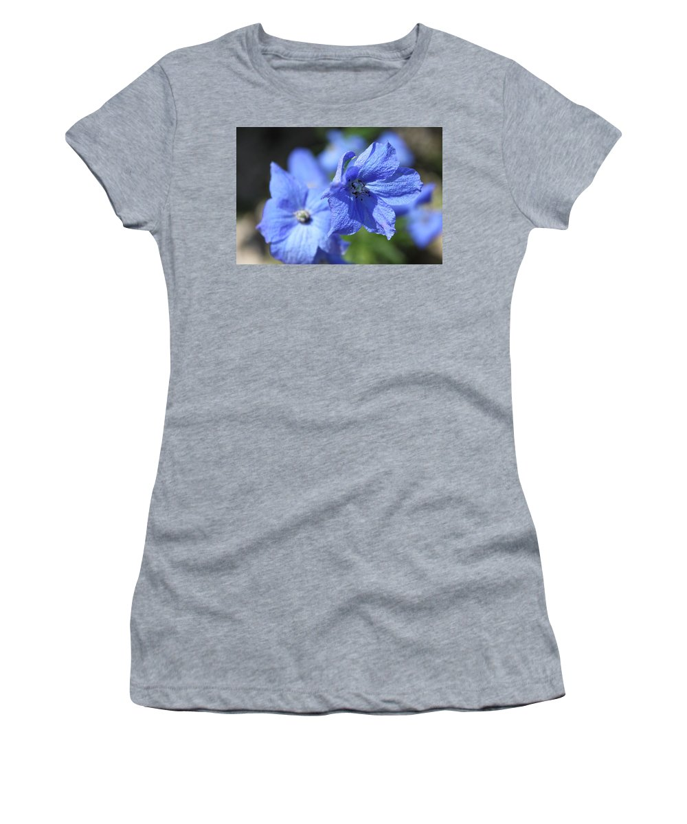 Flower Women's T-Shirt (Athletic Fit) featuring the photograph Periwinkle Flower by Lauri Novak