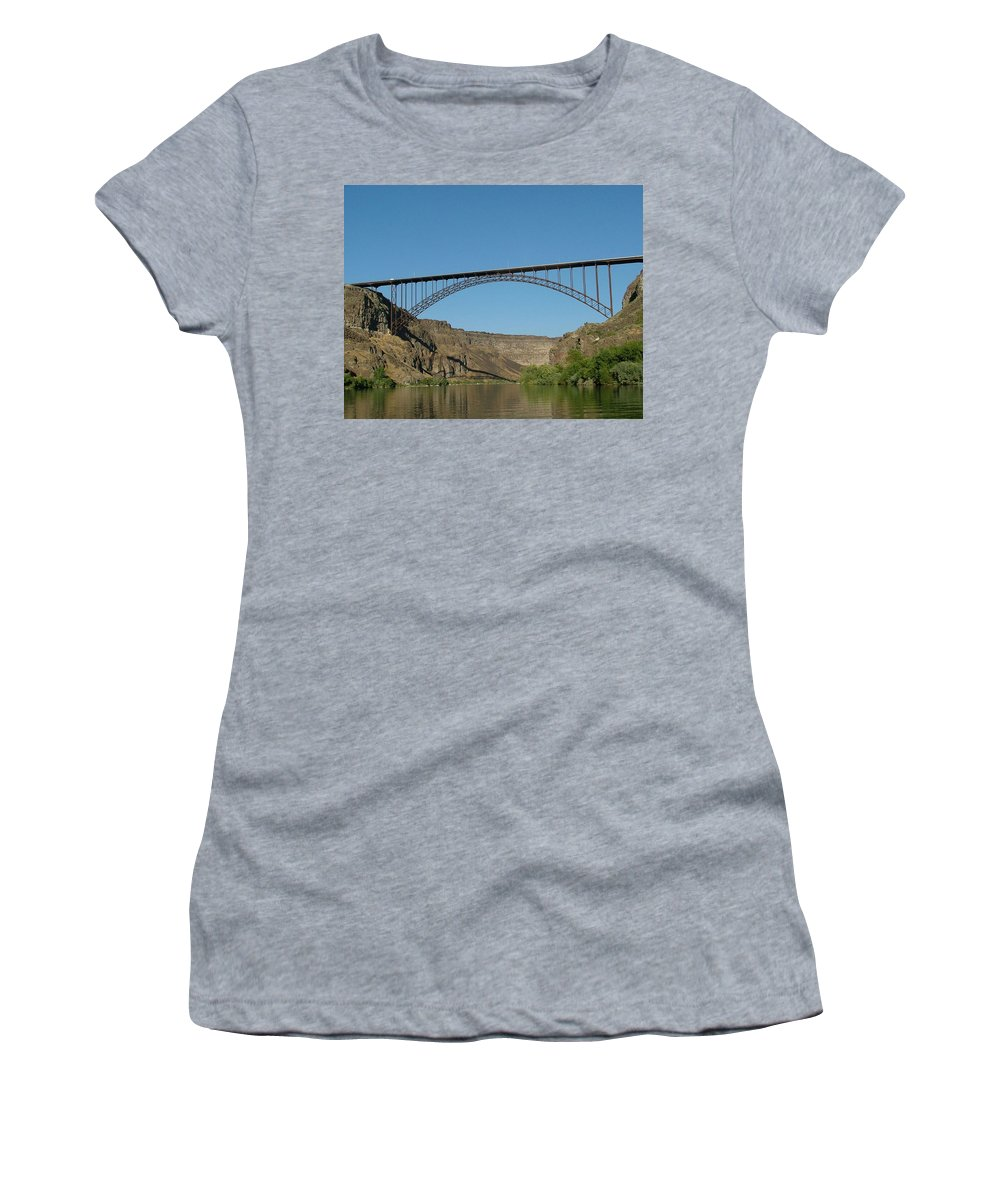 Dawn Blair Women's T-Shirt featuring the painting Perrine Bridge by Dawn Blair