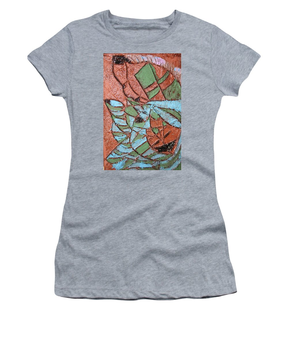 Gloria Ssali Women's T-Shirt (Athletic Fit) featuring the painting Perusal Tile by Gloria Ssali
