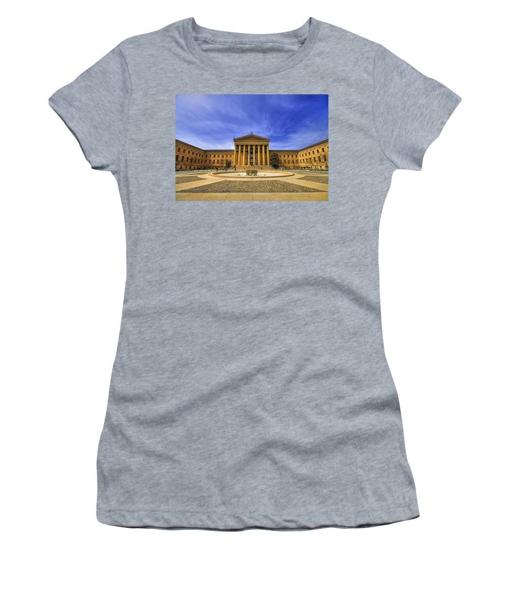 Architecture Women's T-Shirt (Athletic Fit) featuring the photograph Philadelphia Art Museum by Evelina Kremsdorf