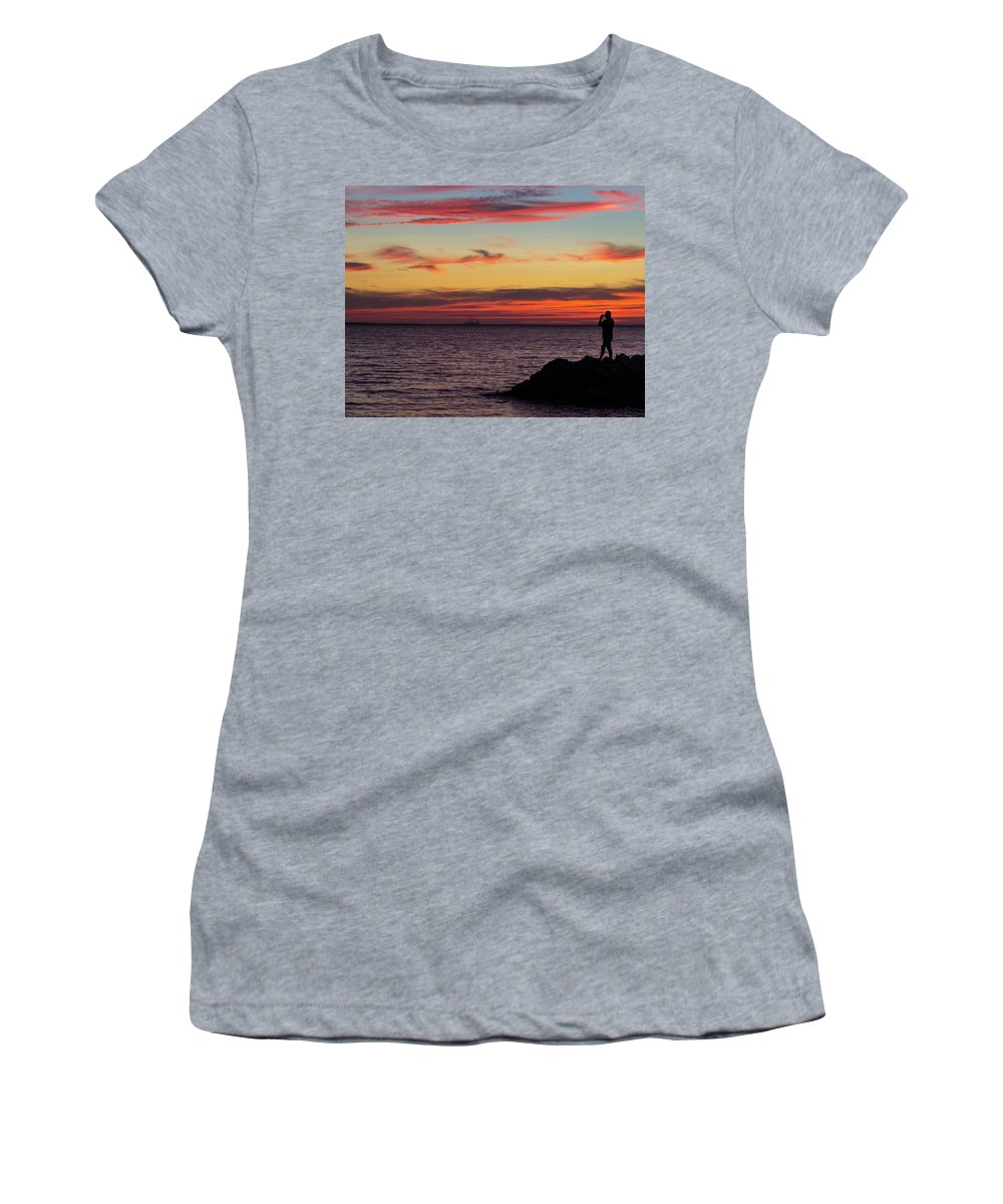 2015 Women's T-Shirt featuring the photograph Photographing The Sunset by Steve Atkinson