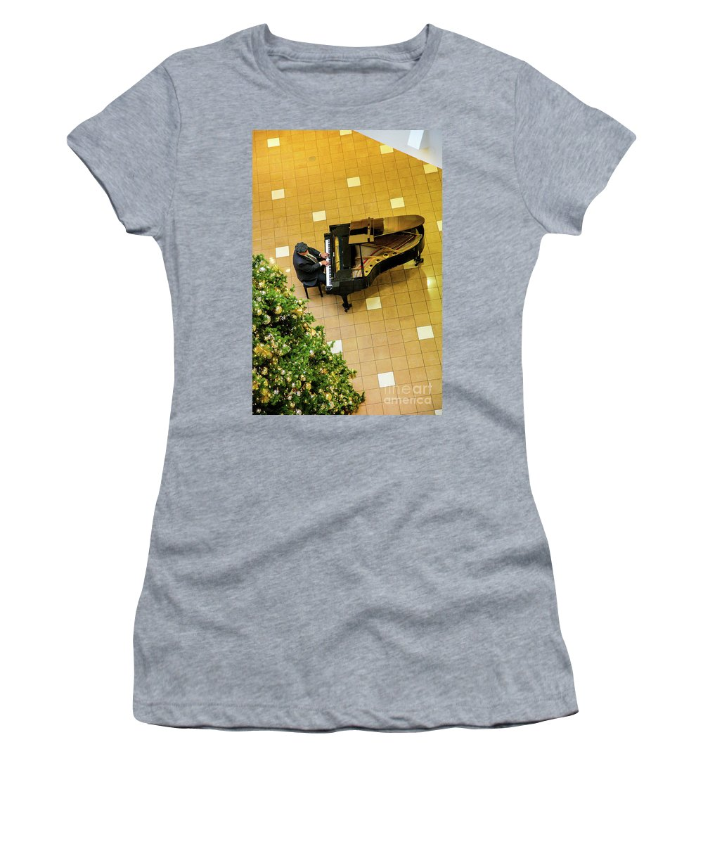 Piano Man Women's T-Shirt (Athletic Fit) featuring the photograph Piano Man by Felix Lai