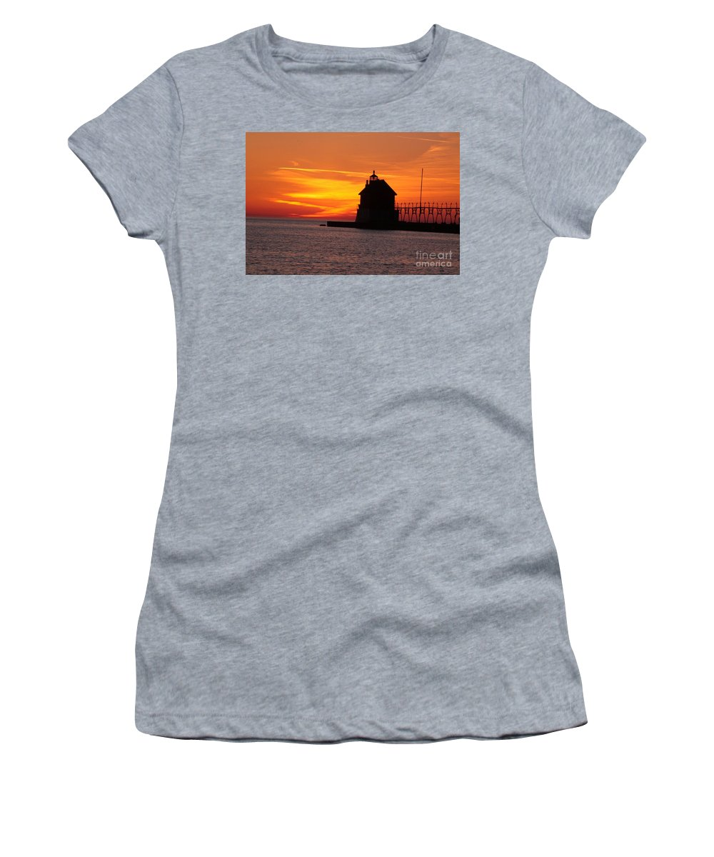 Water Women's T-Shirt (Athletic Fit) featuring the photograph Pier Fire- Btbutler by Robert Pearson