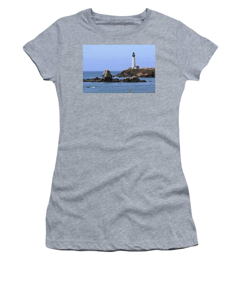 California Women's T-Shirt featuring the photograph Pigeon Point Lighthouse - Palette Knife by Lou Ford