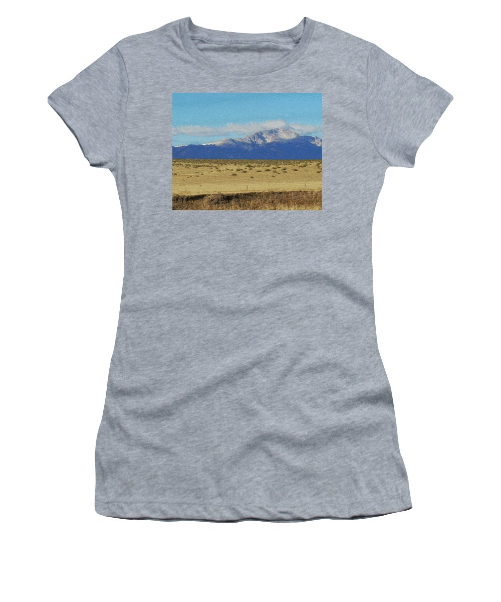 Artwork Women's T-Shirt (Athletic Fit) featuring the photograph Pikes Peak Painterly by Ernie Echols