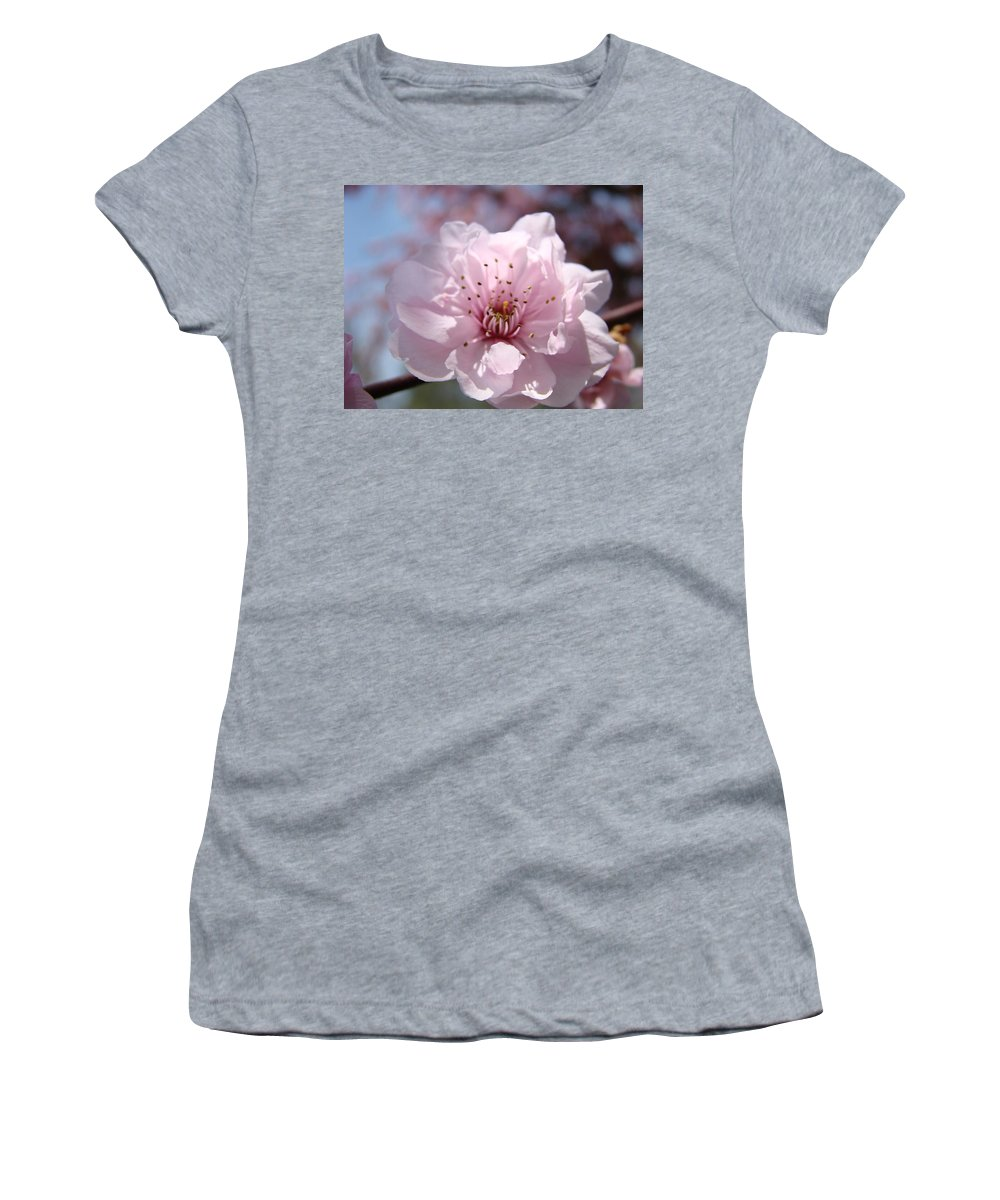 �blossoms Artwork� Women's T-Shirt (Athletic Fit) featuring the photograph Pink Blossom Nature Art Prints 34 Tree Blossoms Spring Nature Art by Baslee Troutman