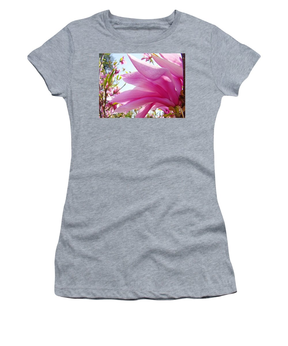 Magnolia Women's T-Shirt featuring the photograph Pink Magnolia Flower Art Print Botanical Tree Baslee Troutman by Baslee Troutman
