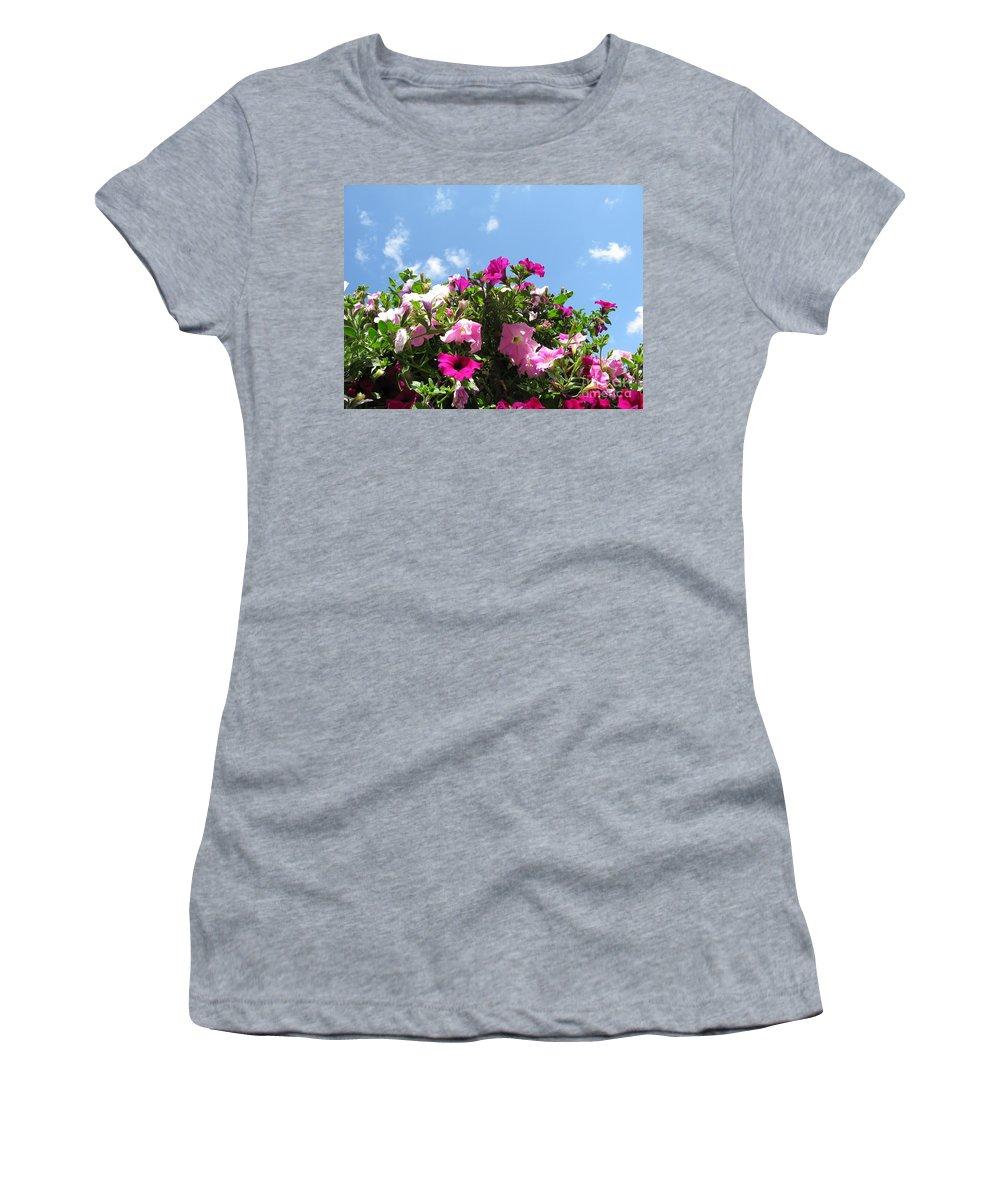 Petunia Women's T-Shirt featuring the photograph Pink Petunias In The Sky by Ausra Huntington nee Paulauskaite