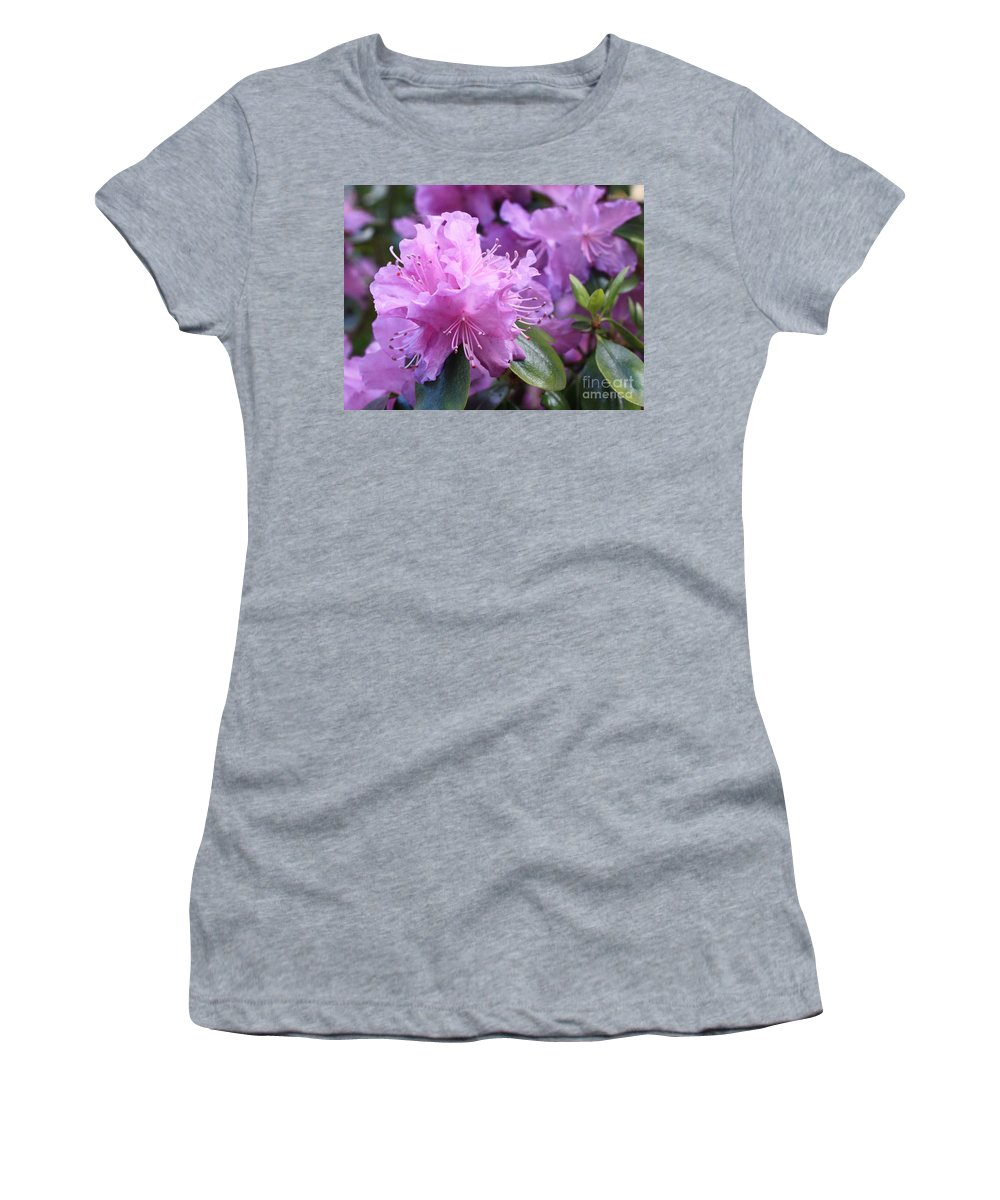 Flower Women's T-Shirt (Athletic Fit) featuring the photograph Light Purple Rhododendron With Leaves by Carol Groenen