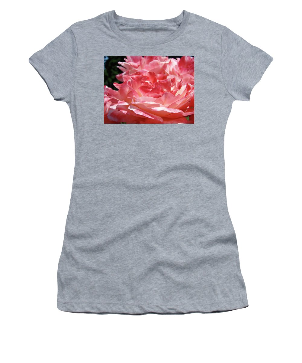 Rose Women's T-Shirt featuring the photograph Pink White Roses Floral Art Prints Rose Baslee Troutman by Baslee Troutman
